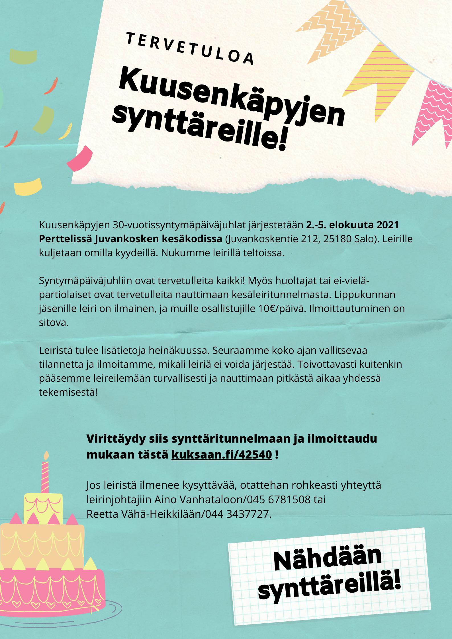 Juhlavuoden kesäleiri 2.-5.8.